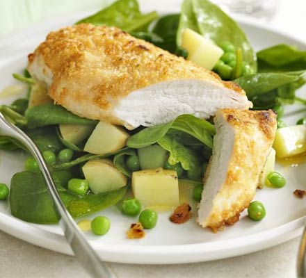 Spring food and wine matching - parmesan spring chicken and sauvignon blanc